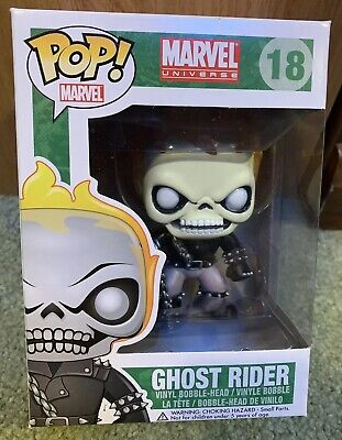 Funko Pop #18 Ghost Rider Vaulted Exclusive  Marvel Universe + Free Protector