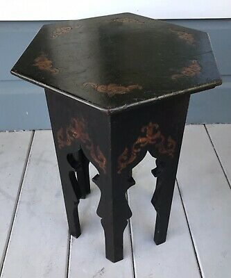 Antique Arts and Crafts Mission Ebonized Patterned Oak Plant Stand Tabouret