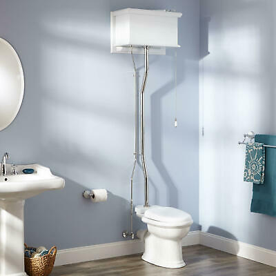 White High Tank Pull Chain Toilet with Rear Outlet Bowl and Chrome Trim