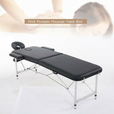 "Aluminium 84""L 2 Fold Portable Massage Table SPA Bed Facial Tattoo w/Carry Case"
