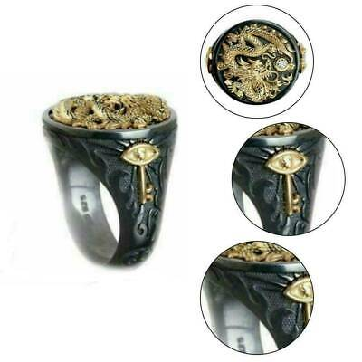 Fashion Men Chinese Dragon Carved 18K Black Gold Plated Ring Jewelry Xmas Gift
