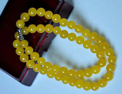 Beautiful 8MM NATURAL YELLOW JADE ROUND GEMSTONE BEADS NECKLACE CHAIN 18 INCH
