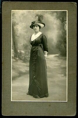 ANTIQUE CABINET PHOTO LOVELY WOMAN w LONG DRESS & FASHION FEATHER HAT