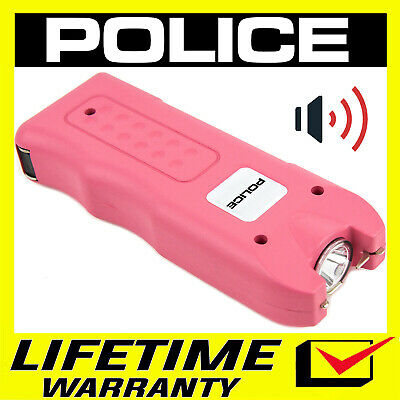 POLICE Pink Stun Gun Max Volt Rechargeable With LED Flashlight Siren Alaem Pink