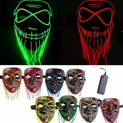 Stitches Neon Mask LED Wire Light Up Party Purge Halloween Costume DIY Beard Hot