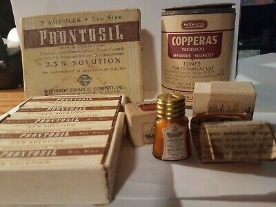 1930's Quack Meds Medicine Prontosil Copperas Erotamine all sealed with contents