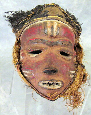 ANTIQUE African S.West Zaire carved wood straw cloth Tribal Mask hand-painted