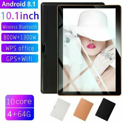 10.1 Pollici 4GB+64GB Tablet PC Bluetooth Android 8.1 Octa 10 Core WIFI 2 SIM 4G