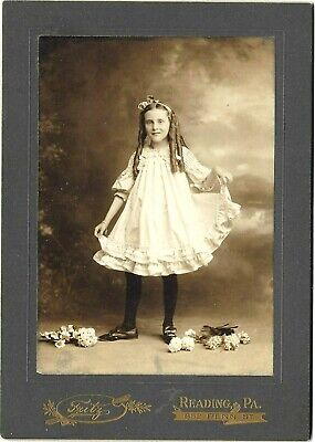 Charming Antique Cabinet Photo~Lovely Flirty Reading PA Girl~Long Sausage Curls