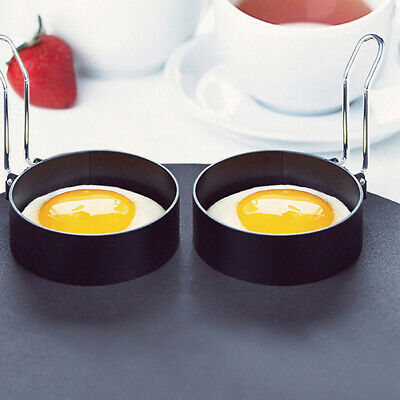 2x Nonstick Fried Egg Mold with Handle Round Pancake Molds Eggs Frying Mould JN