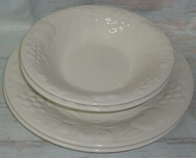 Gibson 2 White Embossed Fruit Floral Dinner Plates and 2 Gibson Soup Cereal bowl