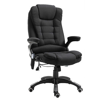 Seven Point Heated Massage Chair 130° Recliner Gaming Linen Fabric & Swivel Base