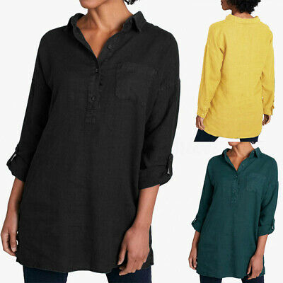 UK Womens Full Sleeve Collared Casual Loose Tops Cotton Shirts Blouse Plus Size