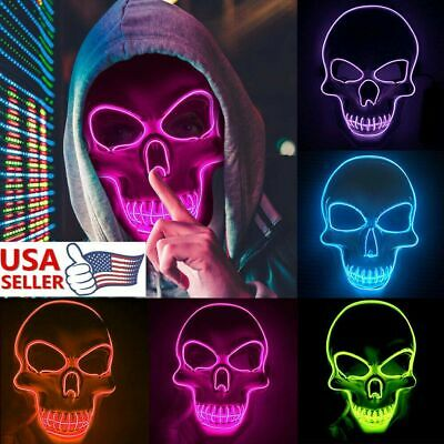 Skull Halloween LED Glow Mask 4 Modes EL Wire Light Up The Purge Movie Costume