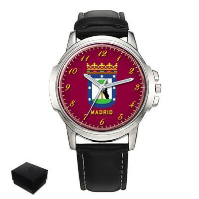 City Of Madrid Flag Coat Of Arms Spain Gents Mens Wrist Watch  Gift Engraving