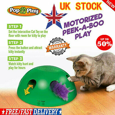 Pop N' Play Interactive Motion Cat Toy Mouse Tease Electronic Pet Toy UK BEST