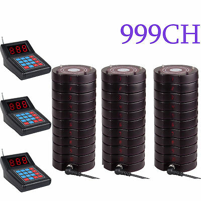 Restaurant Wireless call Paging Queuing System 3*Transmitter w/ 30*Coaster Pager