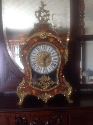 Antique Louis XV Style Large Inlaid Walnut Mantel Bracket Clock