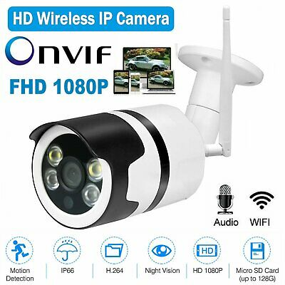 Wireless FHD 1080P WIFI IP Camera Onvif Outdoor Security CCTV IR Night Vision