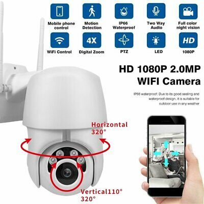 1080P PTZ 4X Zoom Pan Tilt Wireless Wifi IP Security Camera Onvif CCTV Outdoor
