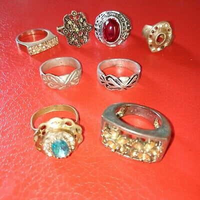 Lot Of 8 Rare Ancient Roman Ring Antique  Silver Jewelry Bronze Rings Artifact