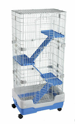 Lazy Bones Lb-Sa23 4 Storey Chinchilla Ferret Rat Degu Cage Blue