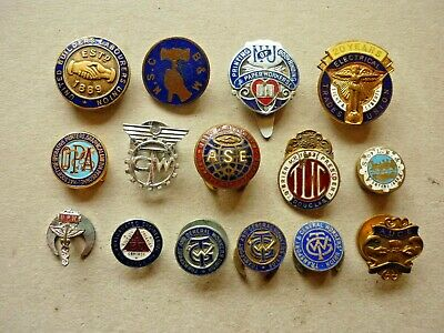 Fifteen (15) Vintage Trade Union Badges All With Button Hole Fittings