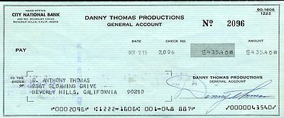 Danny Thomas Signed Jsa Certed Check Authentic Autograph