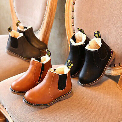 Children Kids Boys Girls Winter Warm Fur Lined Shoes Ankle Boots Chelsea Shoes