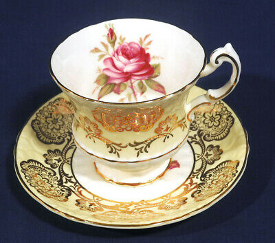 Paragon Fine Bone China Red Rose Yellow with Gold Decor Tea Cup and + Saucer Set