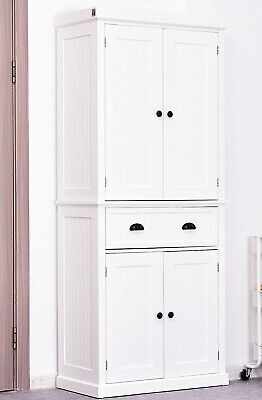 Free Standing Kitchen Pantry Tall Cabinet Storage Unit Cupboard Larder White