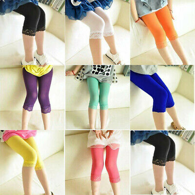 Cropped Children 3/4 Cotton Leggings Basic Plain Kids Capri Pants Age 2 - 13 UK