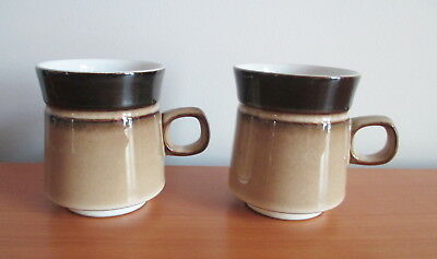 "Denby Country Cuisine 2 Coffee Mugs 3 3/4"" Brown Tan Stoneware 1980s England"