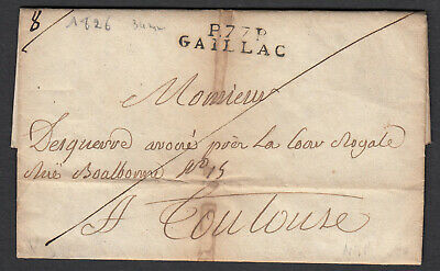 Marque P77P Gaillac Tarn Toulouse 1826 Lettre Cover