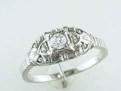 Vintage Diamond Engagement Ring .22ct Old Euro 18K Antique Art Deco