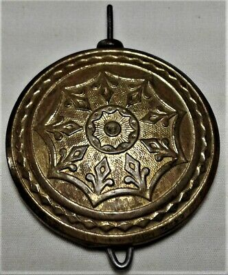 Antique Clock Pendulum Bob Ornate Brass Cover 2.78 ounce w/nut Original Part