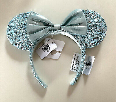 Disney Parks Frozen Arendelle Aqua Blue Minnie Mouse Ears Headband IN HAND