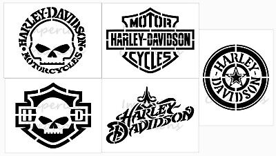 "SET of 5 HARLEY DAVIDSON Willie G 8.5"" x 10.5"" Stencil 20 Mil Plastic Sheets NEW"