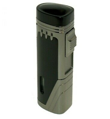 Black & Grey Triple Jet Butane Torch Cigar Lighter With Punch Cutter NEW