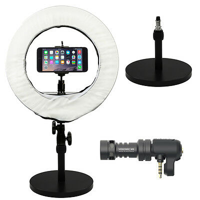 """Prismatic 14"""" Mini Halo Ring Light with Weighted light Stand & Rode Videomic Me"""