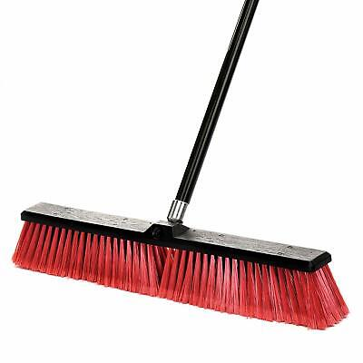 Alpine Industries 24 in. Red Brush Smooth Surface Commercial Push Broom 3 Pack