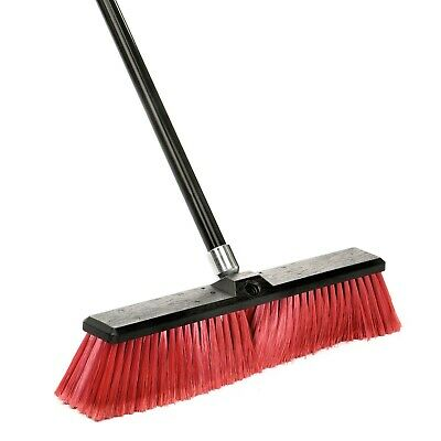 Alpine Industries 18 in Red Brush Smooth Surface Commercial Push Broom 3 Pack