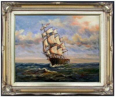 Framed Quality Hand Painted Oil Painting, Sailboat on the Sea 1, 16x20in