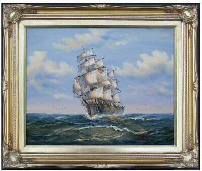 Framed Quality Hand Painted Oil Painting, Sailboat on the Sea 9, 16x20in