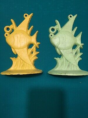 """Cast Iron Metal Fish Book Ends Or Door Stops Yellow & Green 7"""" Tall Tropical"""