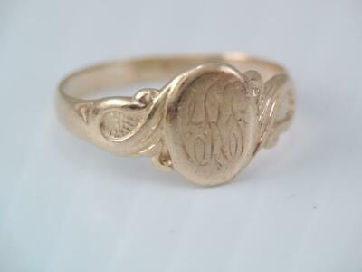 Antique Art Nouveau Solid 10K Rosey Gold Signet Ring Initial Crf?