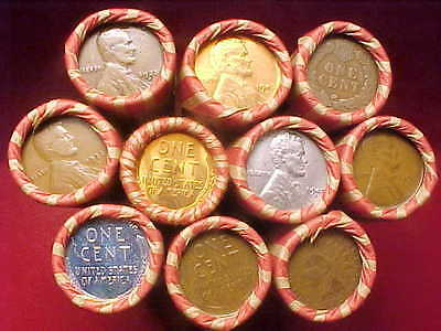 Unsearched wheat penny roll w// Indian Head End Cap *Read* Lot #141