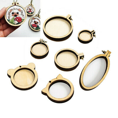 7PCS Wooden Mini Embroidery Circle Ring Round Hoops DIY Cross Stitch Frame Kit