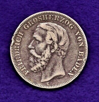 1876 G Baden German States 5 Marks Large Silver $ Friedrich I *Nice Scarce*No=Rs