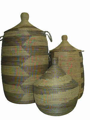 NEW Mariama Natural & Silver Basket - Tribal Expressions,Boxes & Baskets
